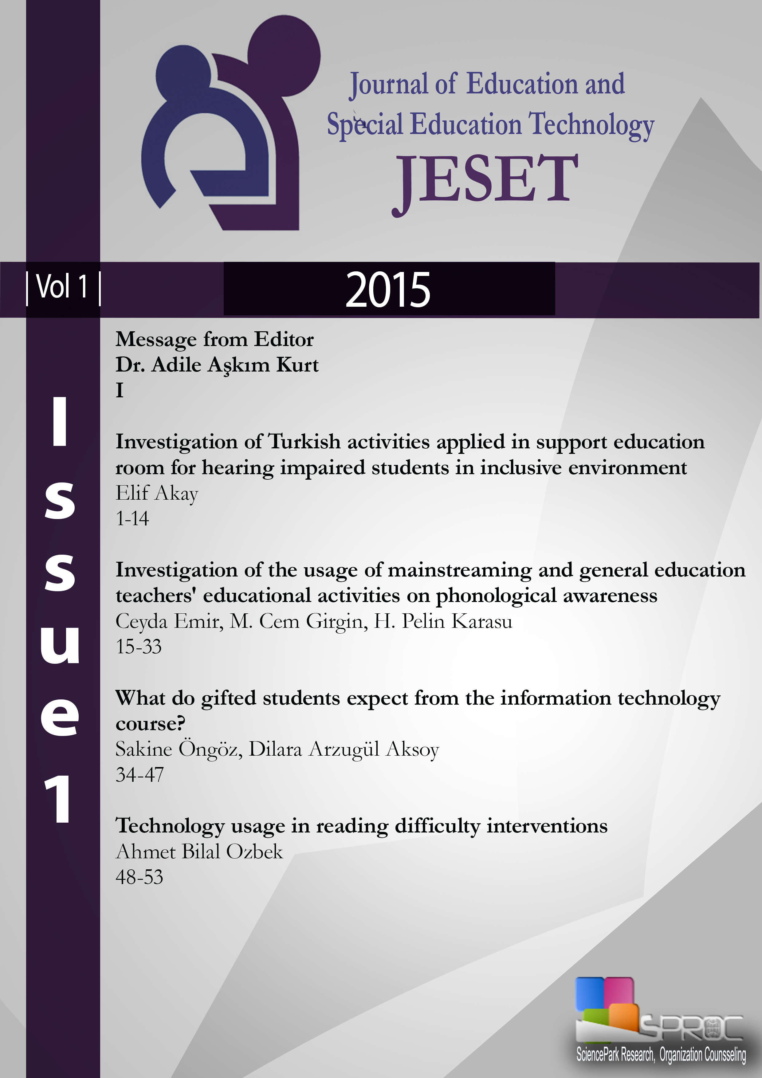 Journal of Education and Special Education Technology-Asos İndeks